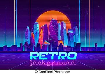 Retro cyberpunk urban background cartoon vector