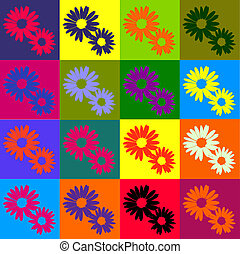 Retro daisies - Retro daisy background