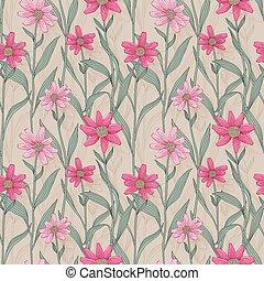 retro daisy seamless pattern