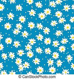 Retro daisy seamless vector pattern.