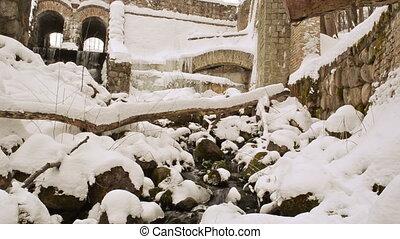 retro dam brook winter