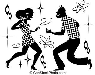Retro dancing clip-art