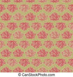 Retro Dark Lotus Flower Seamless Pattern