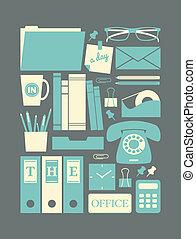 retro, de pictogrammen van het bureau