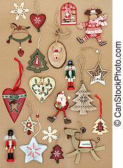 retro, decorações natal