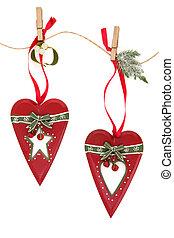 retro, decoraties, kerstmis