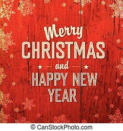 retro, denominado, cartão natal, desenho, ligado, vermelho,...