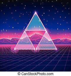 retro, denominado, futurista, paisagem, com, triângulos, e,...