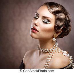 retro, denominado, maquilagem, com, pearls., bonito, mulher jovem, retrato