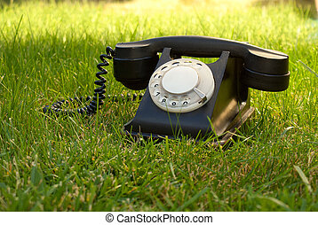 retro, denominado, telefone giratório, em, a, capim