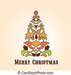retro, desenho, natal, cartão cumprimento