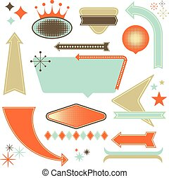 Retro Design Elements - Set of retro 1950's style design...
