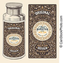 Retro design with Bottleand Floral Elements
