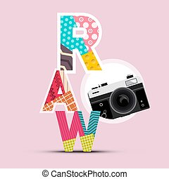 Retro Design with Raw Symbol and Vintage Camera Icon on Pink Background