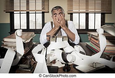 Retro desperate accountant head in hands - Desperate...