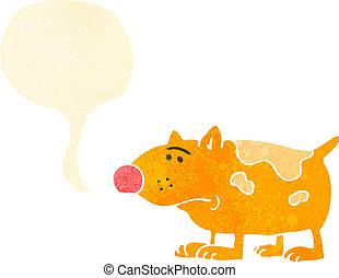 retro, dessin animé, chien, inquiété