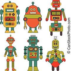 retro, dessin animé, ensemble, robots, vectors