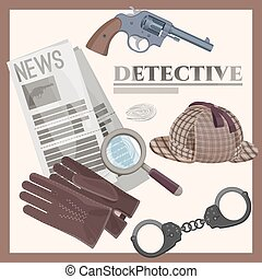 Retro detective accessories cartoon illustrations set on poster