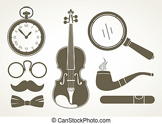 retro, detektiv, accessoirs