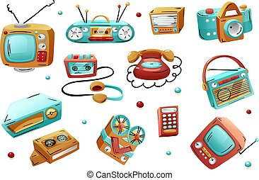 Retro devices in mixed style - flat cartoon comics. Vector illustration isolated on white background