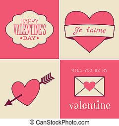 retro, dia valentine, cartões