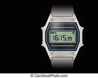 Retro digital watch on black