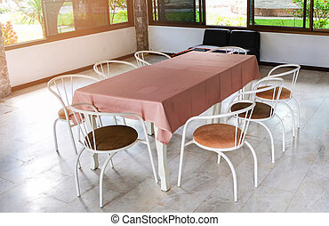 Retro diner table set and chairs common general in home