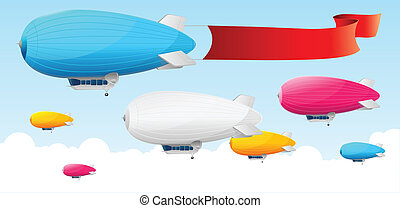 Retro dirigible and flags background. Vector illustration