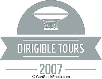 Retro dirigible logo, simple gray style