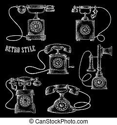 retro, disco, telefone giratório, ícones