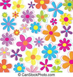 retro, disegnato, fiori