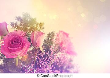 retro, disegnato, immagine, di, fiori