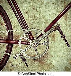 retro, disegnato, immagine, di, un, vecchia bicicletta