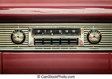 retro, disegnato, immagine, di, un, vecchio, autoradio