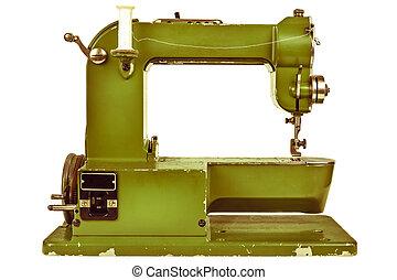 retro, disegnato, immagine, di, uno, macchina cucire,...