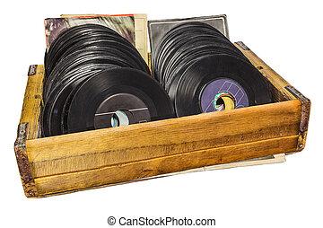 retro, disegnato, immagine, di, uno, scatola legno, con,...