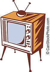 retro, disegnato, televsion, set