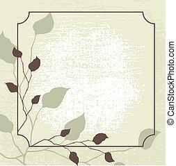retro, disegnato, vettore, fondo, con, marrone, leaves.