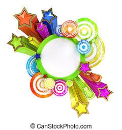 retro, disko, baner, med, vacker, färgad, stjärnor och galon