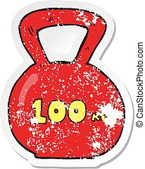 retro distressed sticker of a cartoon 100kg kettle bell...
