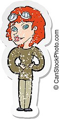 retro distressed sticker of a cartoon aviator woman
