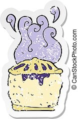 retro distressed sticker of a cartoon blueberry pie