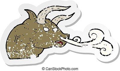retro distressed sticker of a cartoon bull head
