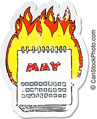 retro distressed sticker of a cartoon calendar showing month of may