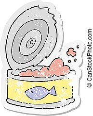 retro distressed sticker of a cartoon can of tuna