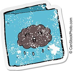 retro distressed sticker of a cartoon card with cloud...