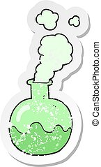 retro distressed sticker of a cartoon chemical reaction