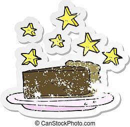 retro distressed sticker of a cartoon chocolate cake
