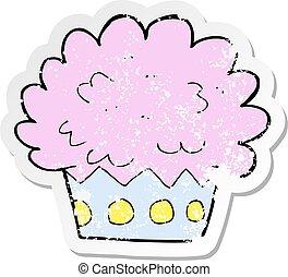 retro distressed sticker of a cartoon cup cake
