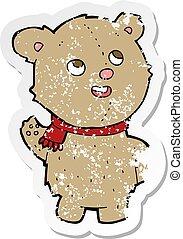 retro distressed sticker of a cartoon cute teddy bear with scarf